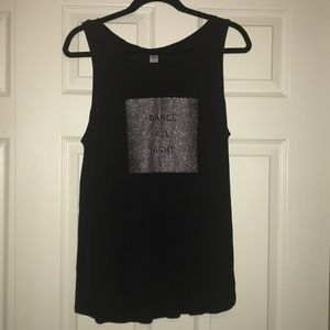 Black dance all night sparkle tank top size XL